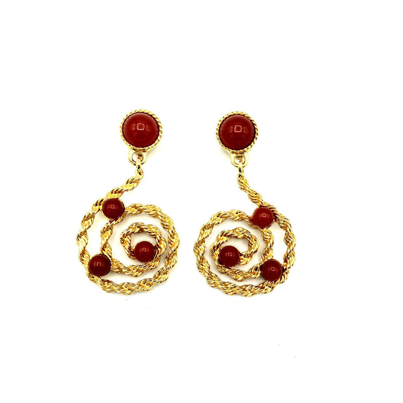 Avon Gold Scroll Carnelian Cabochons Dangle Vintage Clip-On Earrings-Earrings-24 Wishes