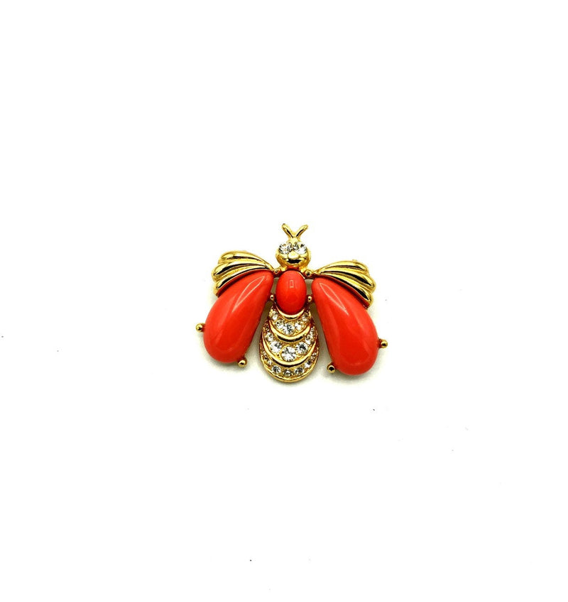 Classic Gold Givenchy Coral Bee Brooch Pin-Brooches & Pins-Givenchy-[trending designer jewelry]-[givenchy jewelry]-[Sustainable Fashion]