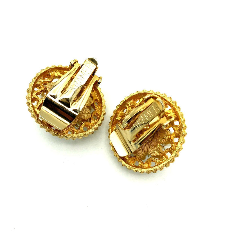 Kramer Gold Pearl Classic Vintage Button Earrings-Sustainable Fashion with Vintage Style-Trending Designer Fashion-24 Wishes