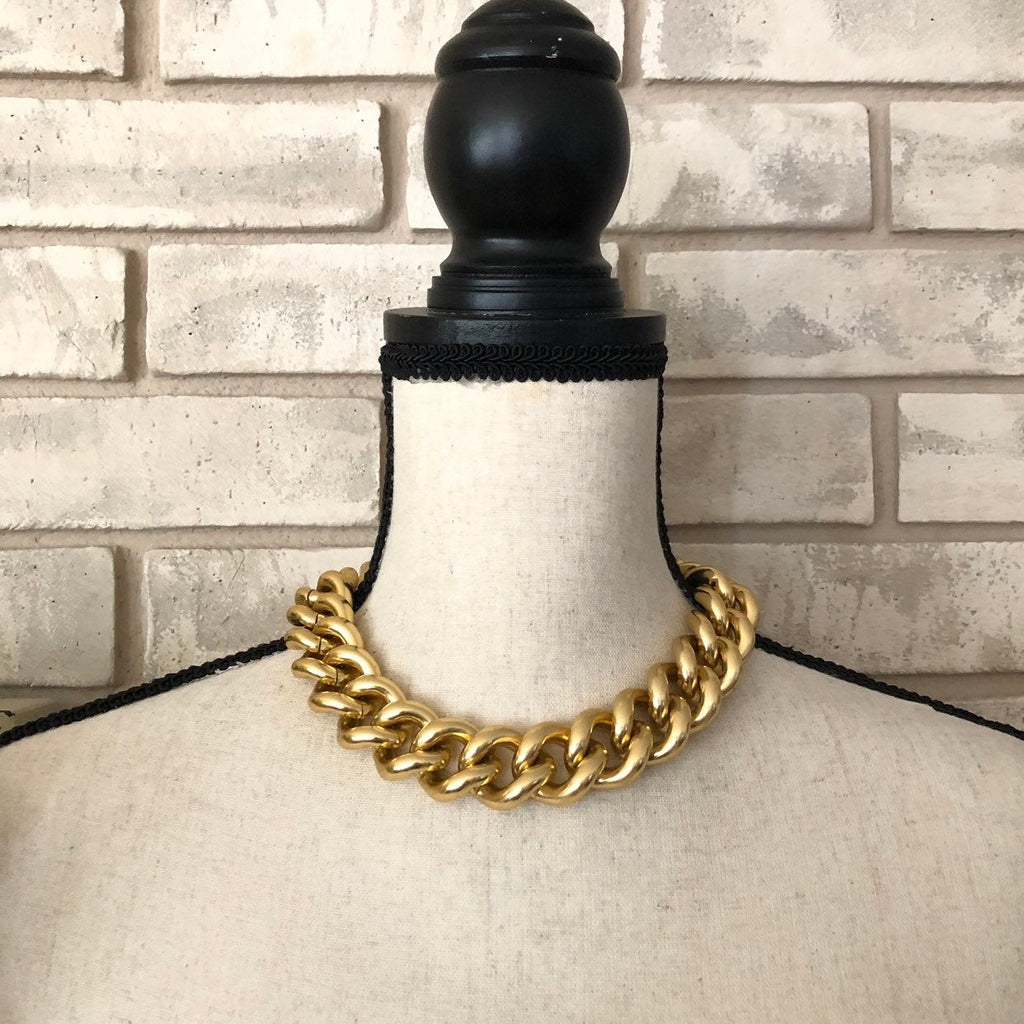 Vintage Erwin Pearl Heavy Link Gold Curb Necklace