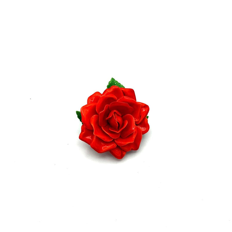 Red Flower Layered Petals Vintage Brooch