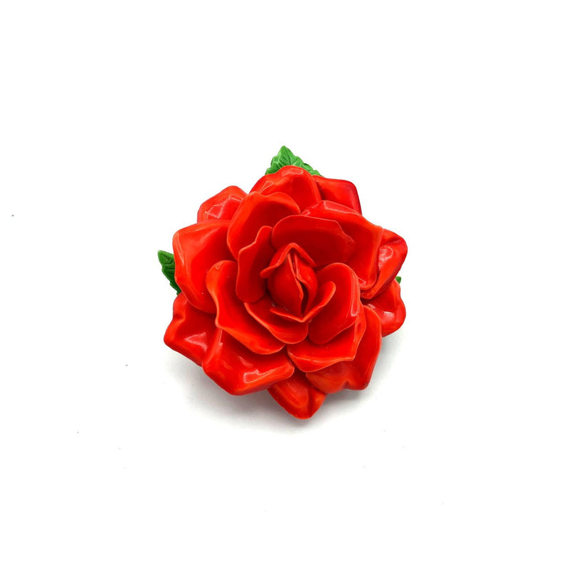 Red Flower Layered Petals Vintage Brooch-Sustainable Fashion with Vintage Style-Trending Designer Fashion-24 Wishes