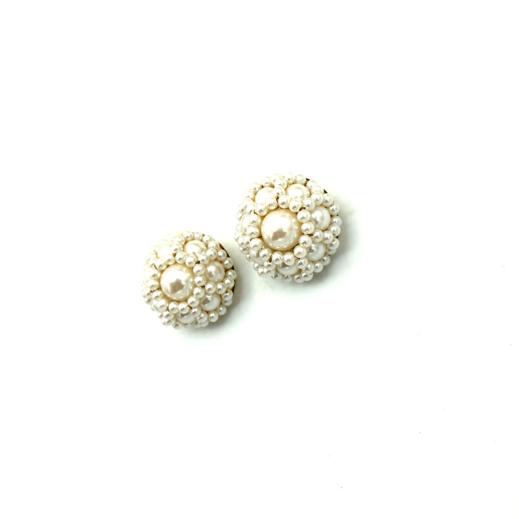 Classic Layered Pearl Cluster Vintage Earrings-Sustainable Fashion with Vintage Style-Trending Designer Fashion-24 Wishes