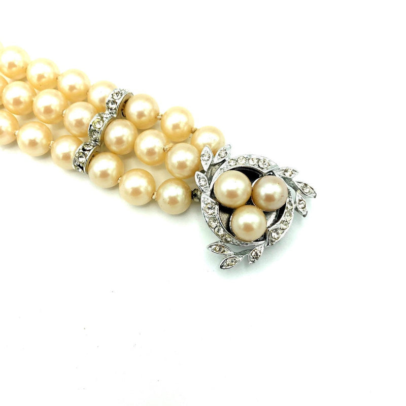 Vintage Three Row Pearl & Rhinestone Vintage Bracelet-Sustainable Fashion with Vintage Style-Trending Designer Fashion-24 Wishes