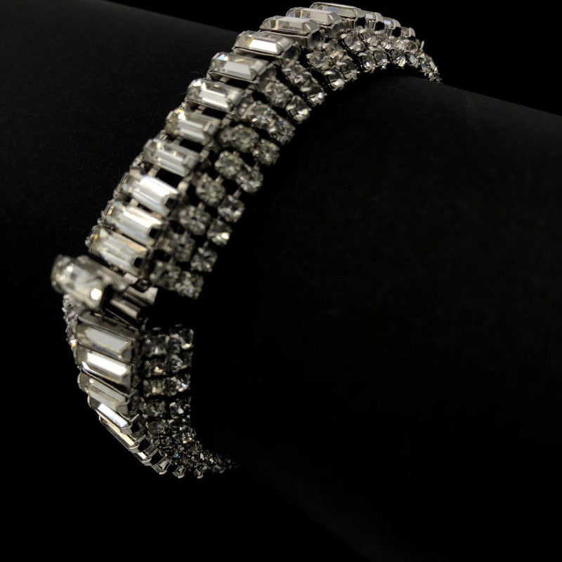 Weiss Clear Rhinestone Statement Bracelet-Sustainable Fashion with Vintage Style-Trending Designer Fashion-24 Wishes