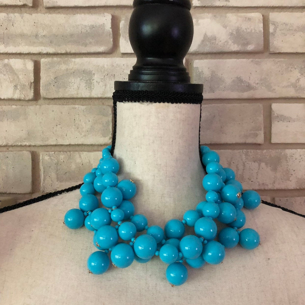 Kenneth Jay Lane Chunky Layered Turquoise Blue Bead Necklace-Sustainable Fashion with Vintage Style-Trending Designer Fashion-24 Wishes