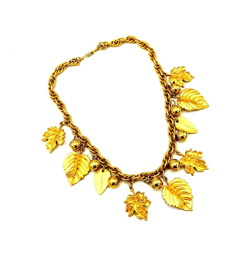 Napier Matt Gold Fall Leaf & Berries Charm Pendant