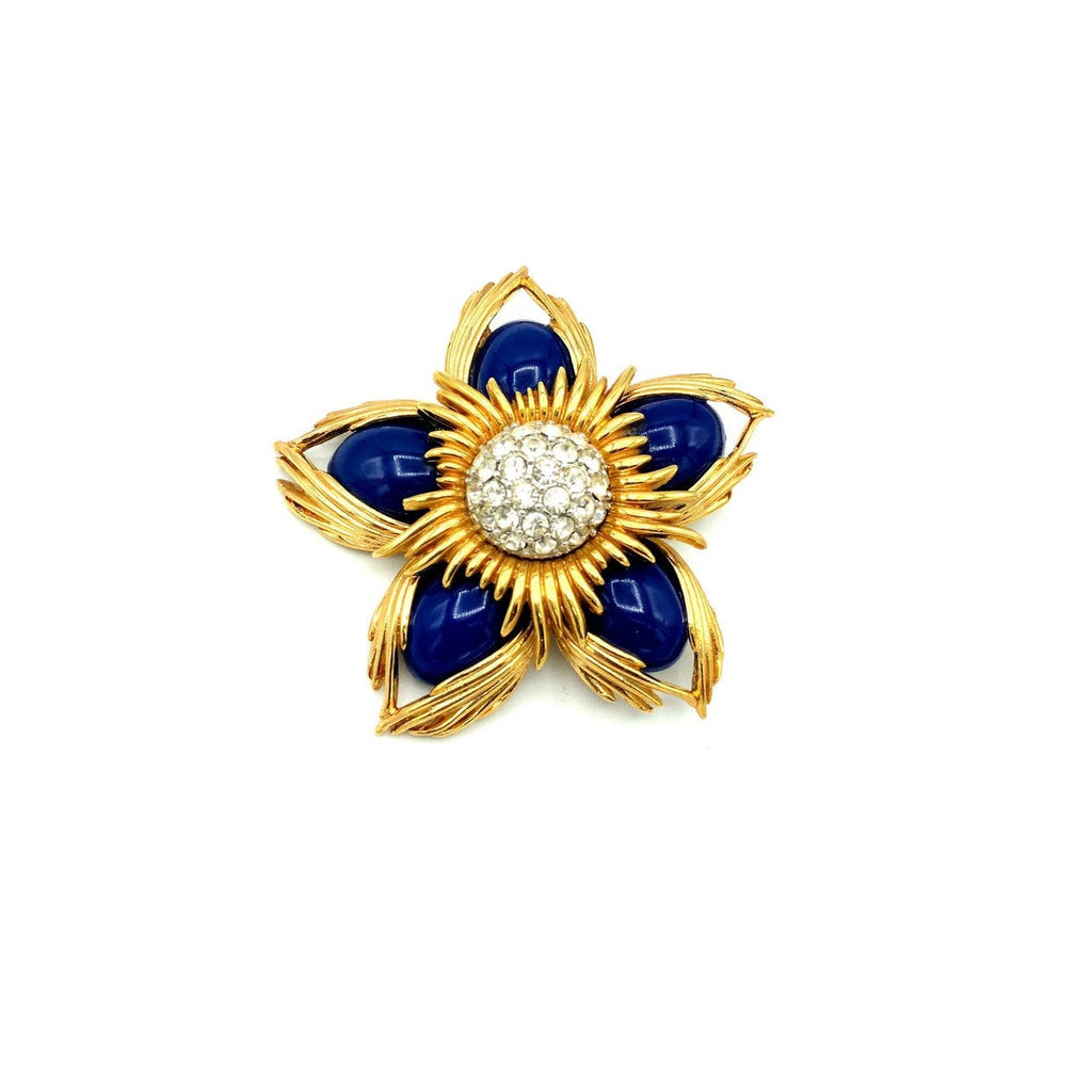 update alt-text with template Joan Rivers Cobalt Blue Cabochon Gold Vintage Flower Brooch-Brooches & Pins-Joan Rivers-[trending designer jewelry]-[joan rivers jewelry]-[Sustainable Fashion]