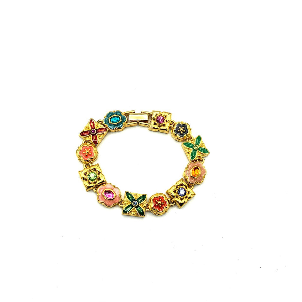 Joan Rivers Enamel Flower Vintage Charm Stacking Bracelet