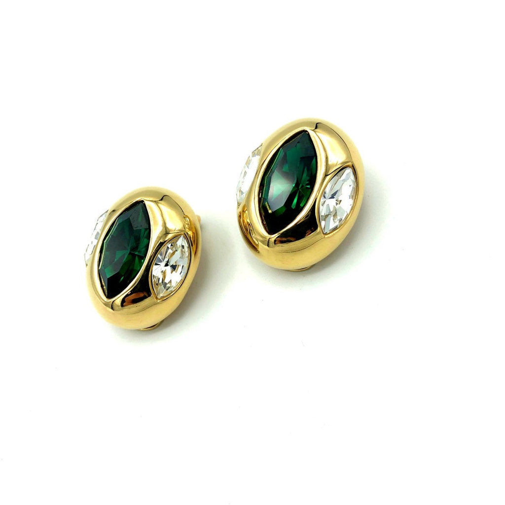 Kenneth Jay Lane Green Marquise Crystal Rhinestone Vintage Earrings-Sustainable Fashion with Vintage Style-Trending Designer Fashion-24 Wishes