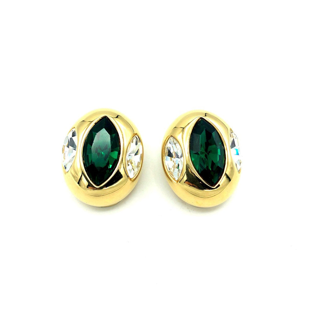 Kenneth Jay Lane Green Marquise Crystal Rhinestone Vintage Earrings