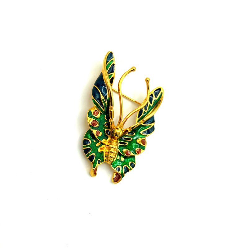 MFA Gold Enamel Butterfly Vintage Brooch-Sustainable Fashion with Vintage Style-Trending Designer Fashion-24 Wishes
