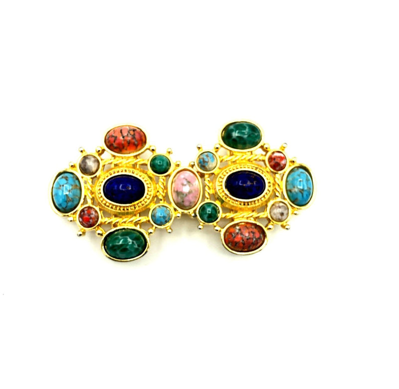 Paquette Gold Multi-Color Cabochon Belt Buckle-Sustainable Fashion with Vintage Style-Trending Designer Fashion-24 Wishes