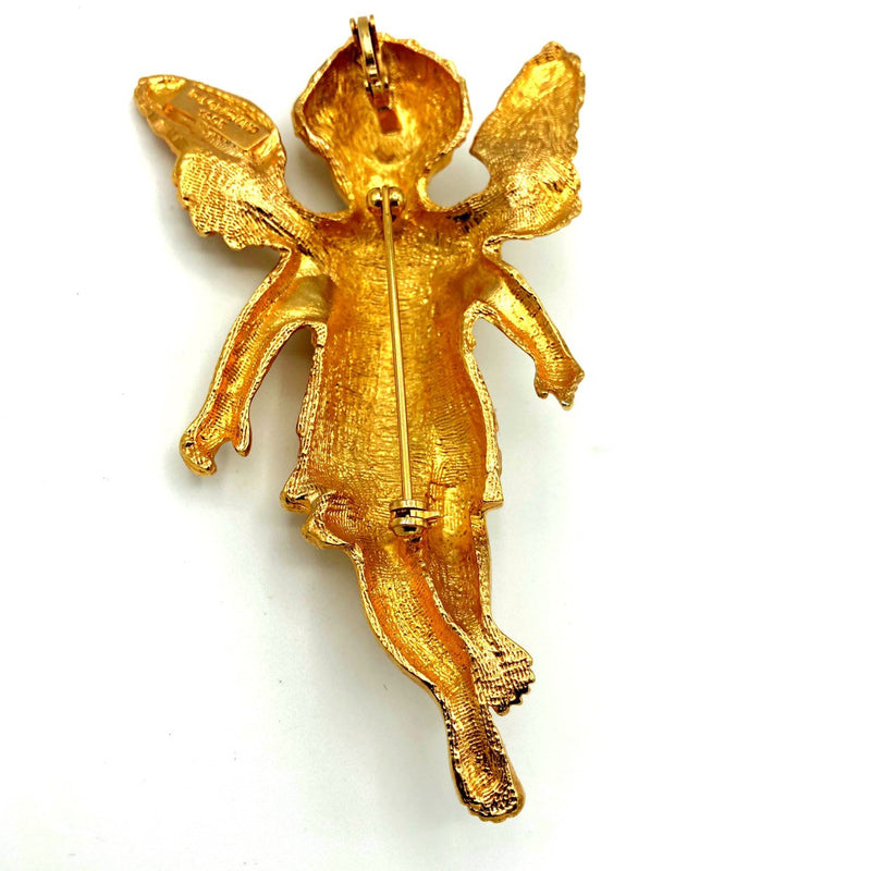 RJ Graziano Gold Angel Cherub Vintage Brooch or Pendant-Sustainable Fashion with Vintage Style-Trending Designer Fashion-24 Wishes