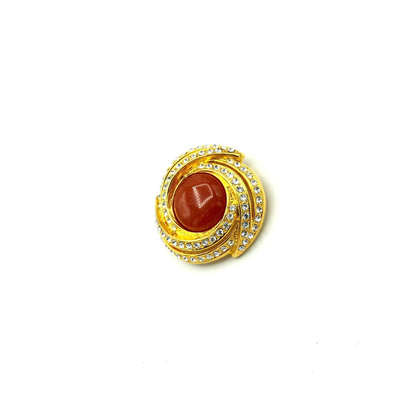 Vendome Golden Orange Cabochon Rhinestone Vintage Brooch-Sustainable Fashion with Vintage Style-Trending Designer Fashion-24 Wishes