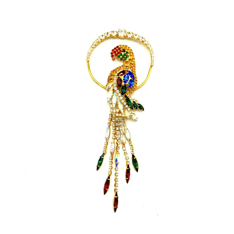 Large Gold Rhinestone Parrot Bird Vintage Brooch-Sustainable Fashion with Vintage Style-Trending Designer Fashion-24 Wishes
