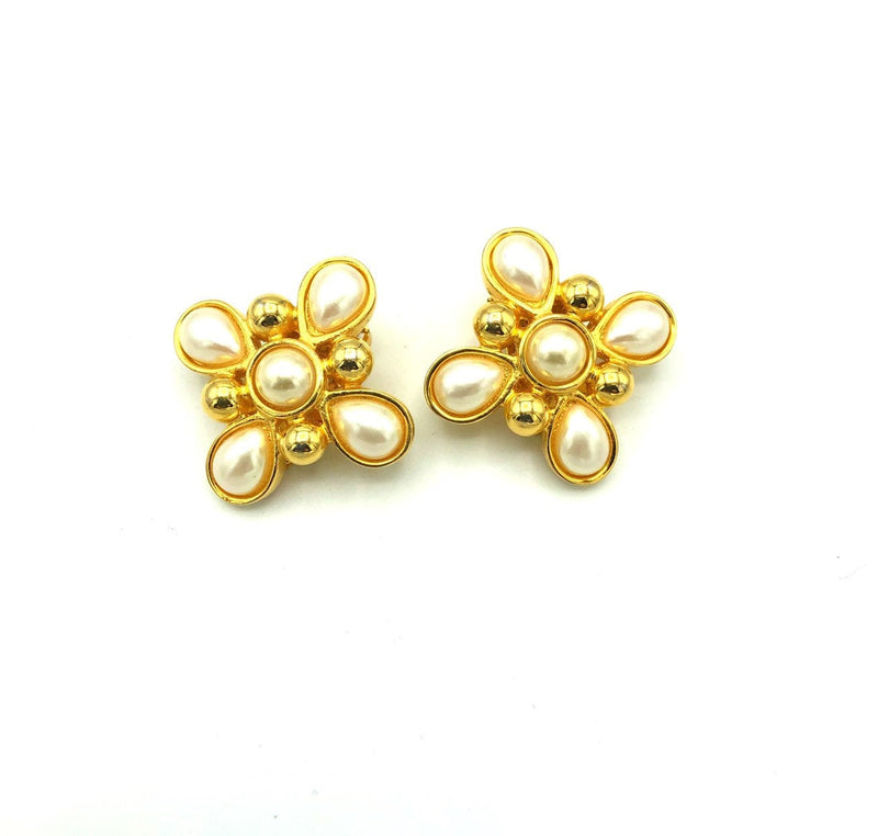 Fendi Gold Pearl Maltese Cross Vintage Earrings