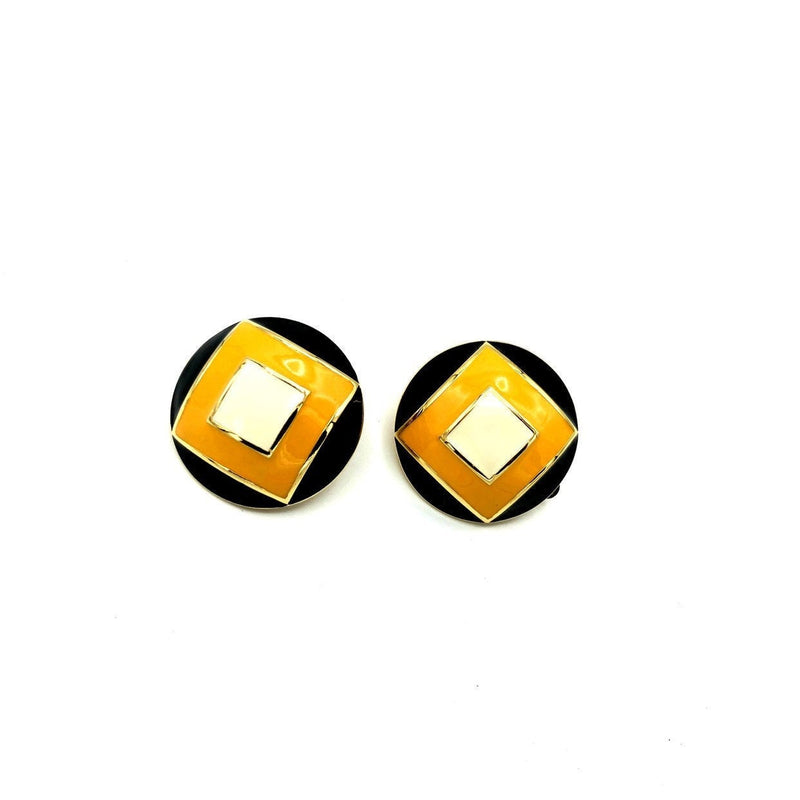 St. John Round Geographic Yellow & Black Enamel Earrings