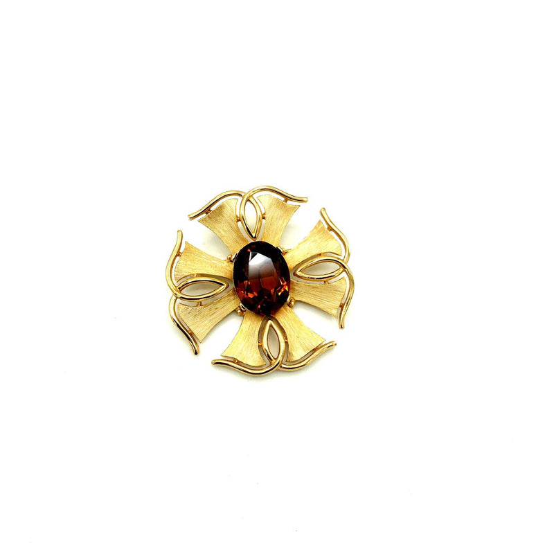 Vintage Gold Trifari Smokey Brown Topaz Brooch