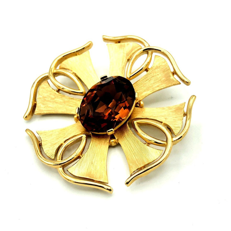 update alt-text with template Vintage Gold Trifari Smokey Brown Topaz Brooch-Brooches & Pins-Trifari-[trending designer jewelry]-[trifari jewelry]-[Sustainable Fashion]