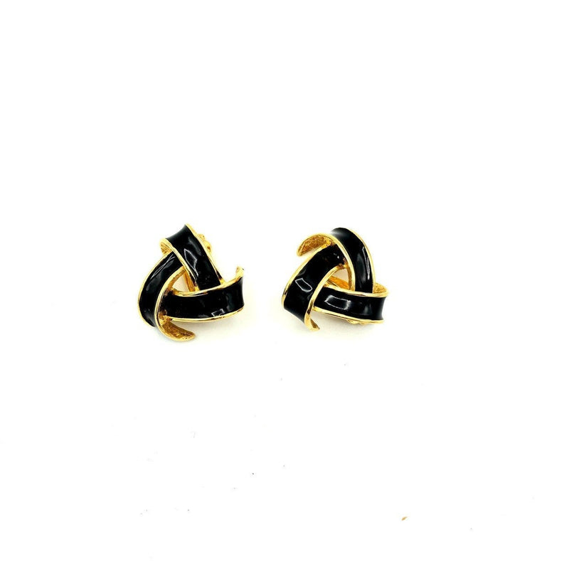 Nina Ricci Black Enamel Vintage Earrings