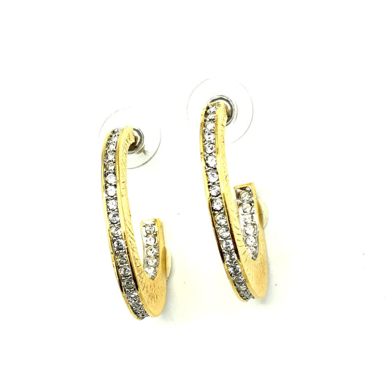 Nolan Miller Half Hoop Diamante Gold Earrings-Sustainable Fashion with Vintage Style-Trending Designer Fashion-24 Wishes