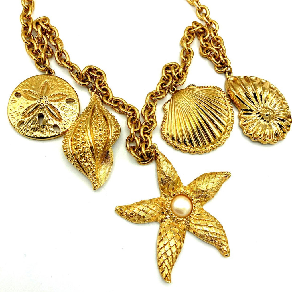 Kenneth Jay Lane Classic Gold Shell & Starfish Charm Chain Necklace-Sustainable Fashion with Vintage Style-Trending Designer Fashion-24 Wishes