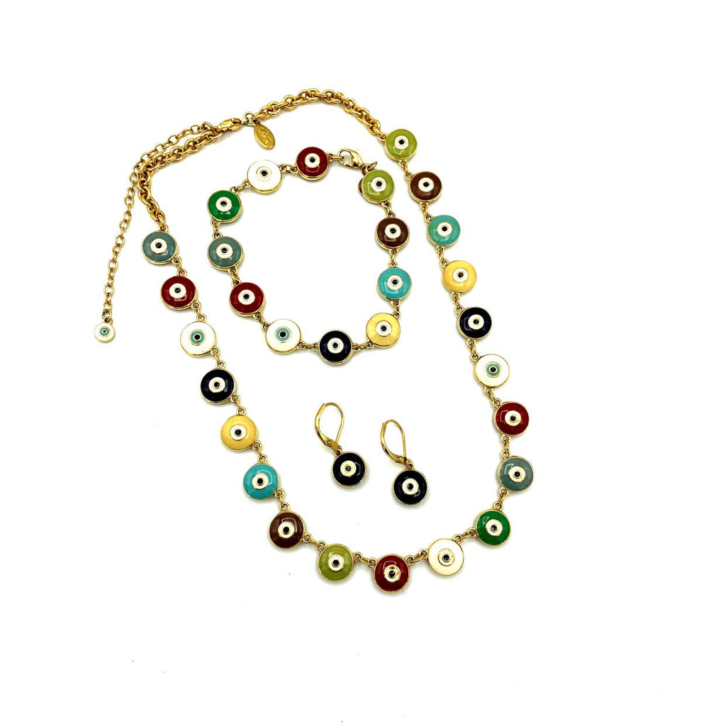 Joan Rivers Multi-Color Enamel Evil Eye Charms Jewelry Set