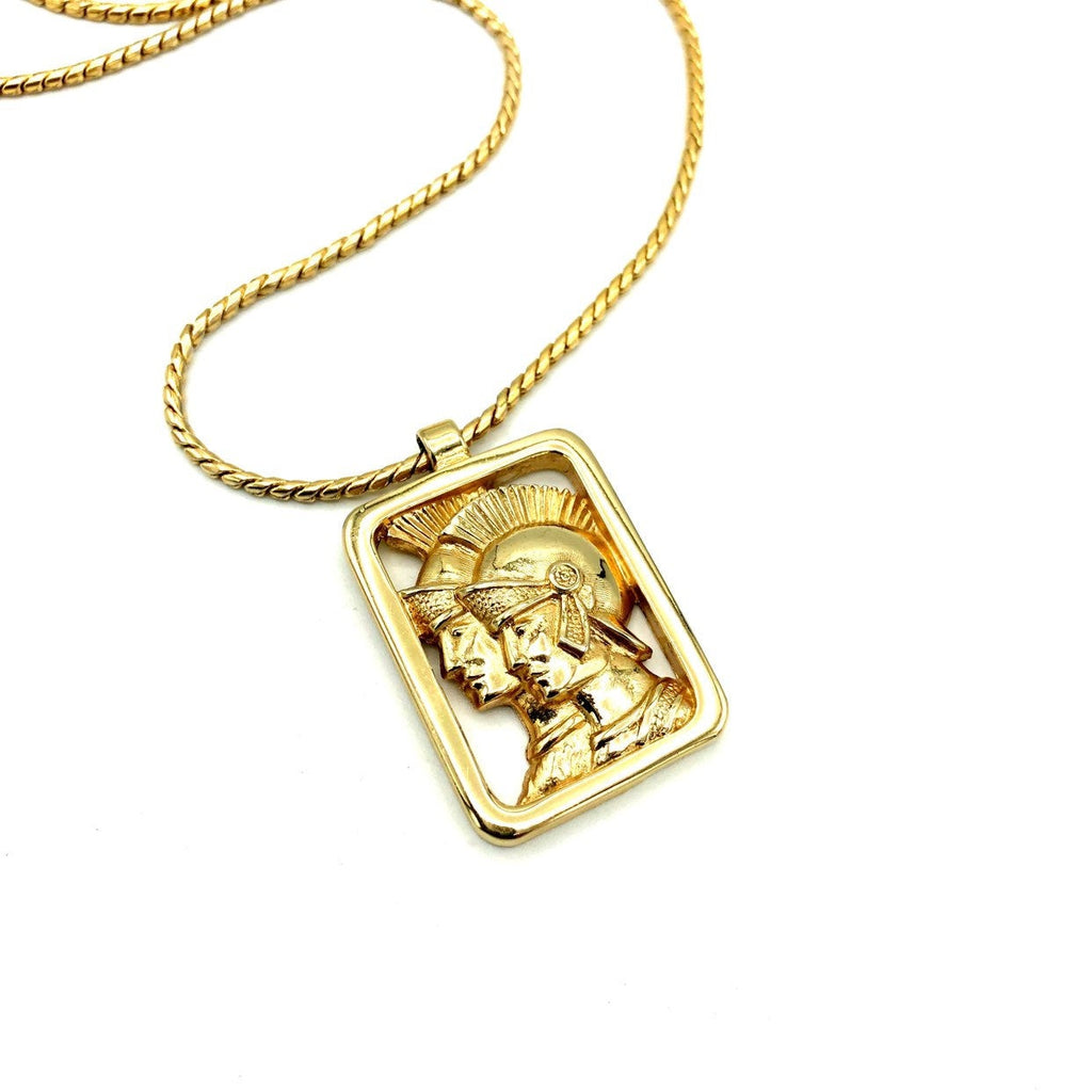 Vintage Gold Gladiator Spartan Pendant-Sustainable Fashion with Vintage Style-Trending Designer Fashion-24 Wishes