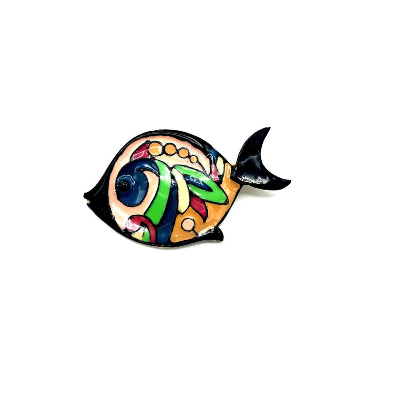Eisenberg Black Colorful Enamel Fish Brooch-Brooches & Pins-24 Wishes