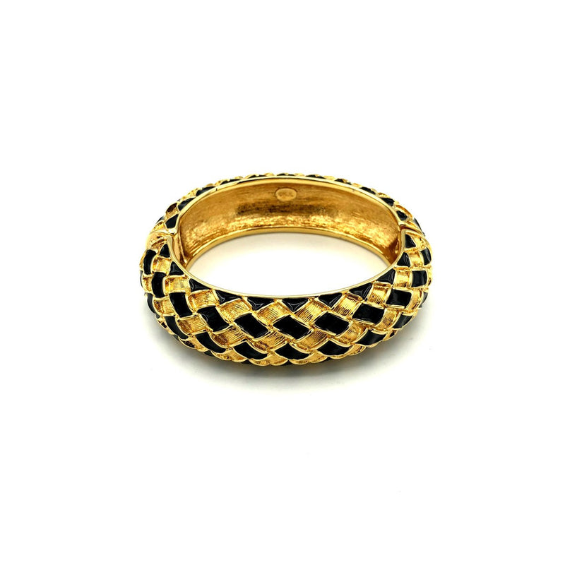 update alt-text with template Kenneth Jay Lane Gold & Black Enamel Weave Hinged Bangle Bracelet-Bracelets-Kenneth Jay Lane-[trending designer jewelry]-[kenneth jay lane KJL jewelry]-[Sustainable Fashion]