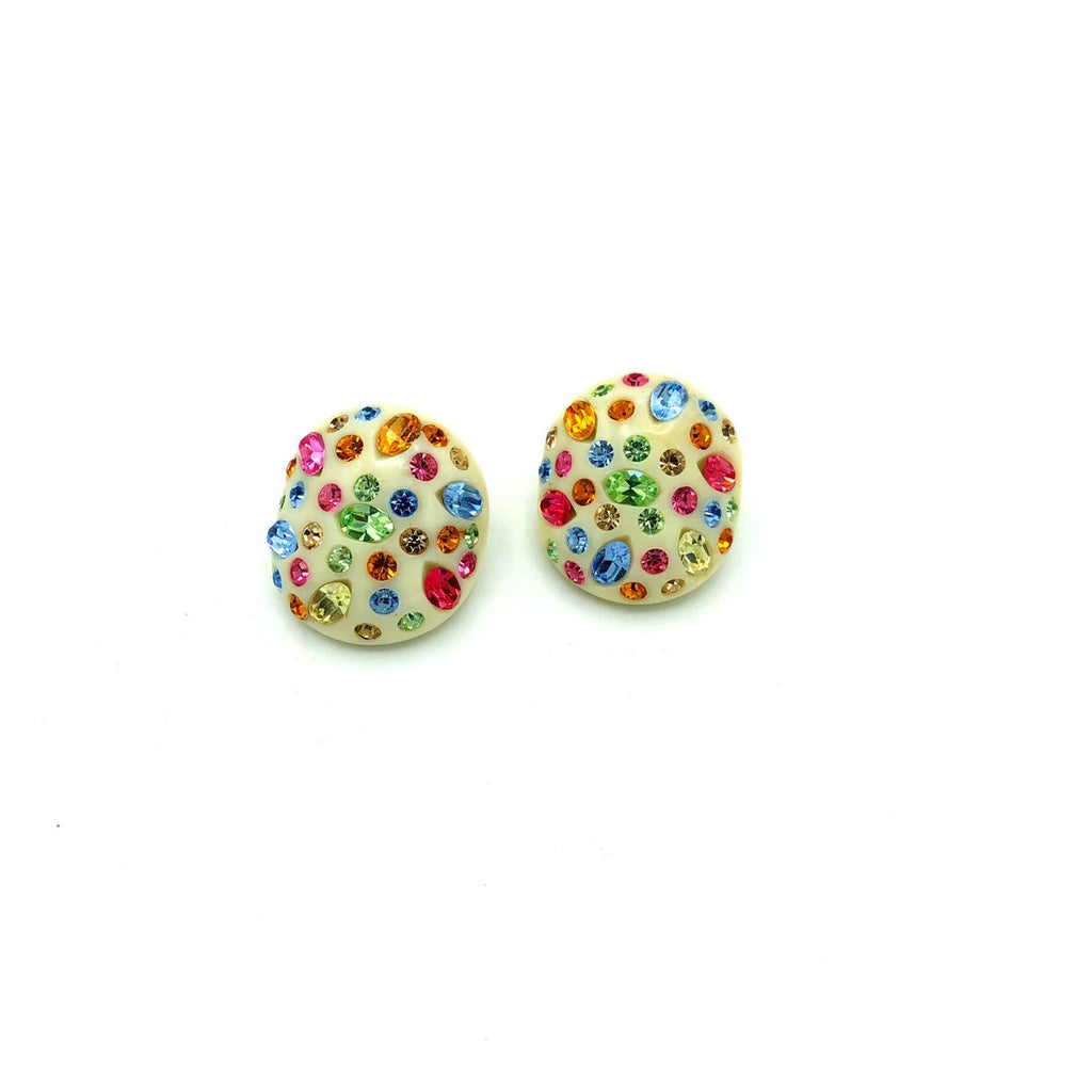 Weiss White Thermoset & Multi-Color Rhinestone Round Vintage Earrings-Sustainable Fashion with Vintage Style-Trending Designer Fashion-24 Wishes