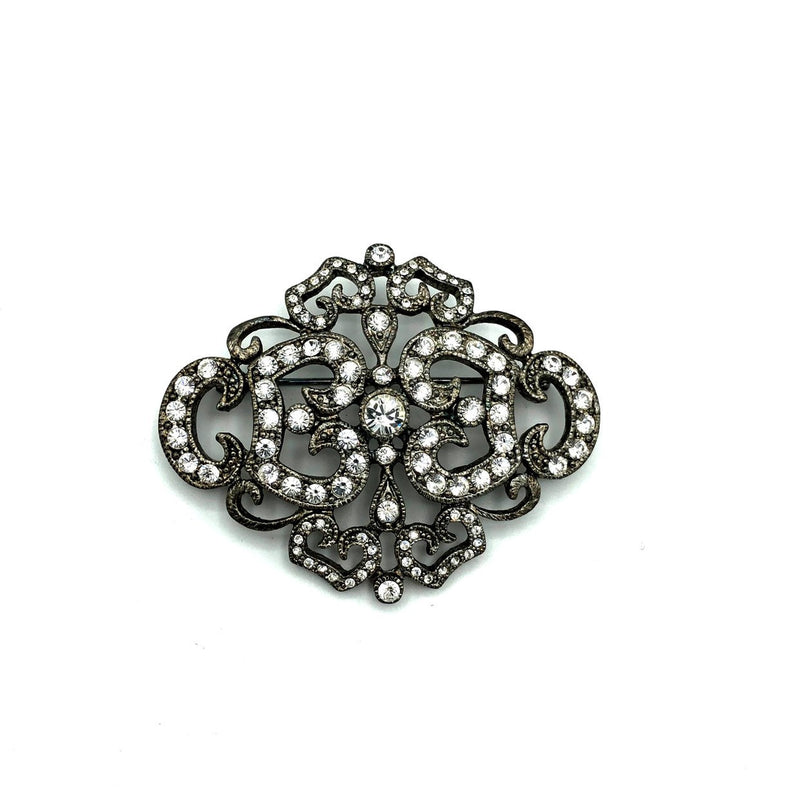 Jackie Kennedy JBK Paved Monogram Vintage Brooch-Sustainable Fashion with Vintage Style-Trending Designer Fashion-24 Wishes