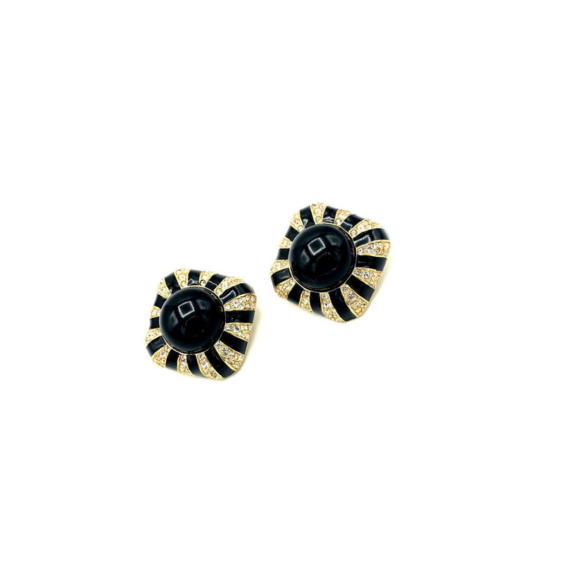 Ciner Gold Black Enamel Rhinestone Vintage Statement Earrings-Sustainable Fashion with Vintage Style-Trending Designer Fashion-24 Wishes