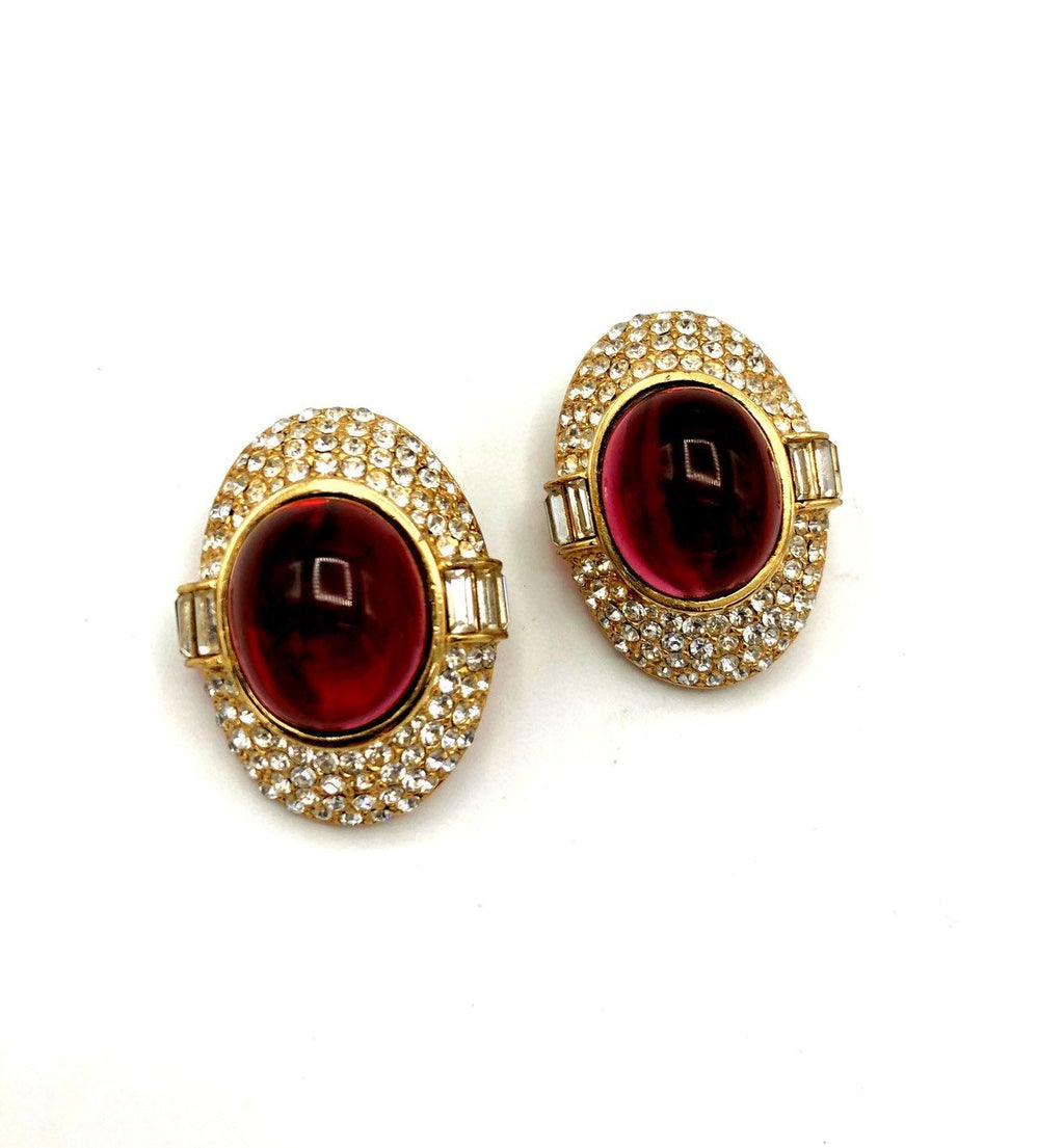 Ciner Gold Pave Rhinestone & Ruby Red Cabochon Vintage Earrings