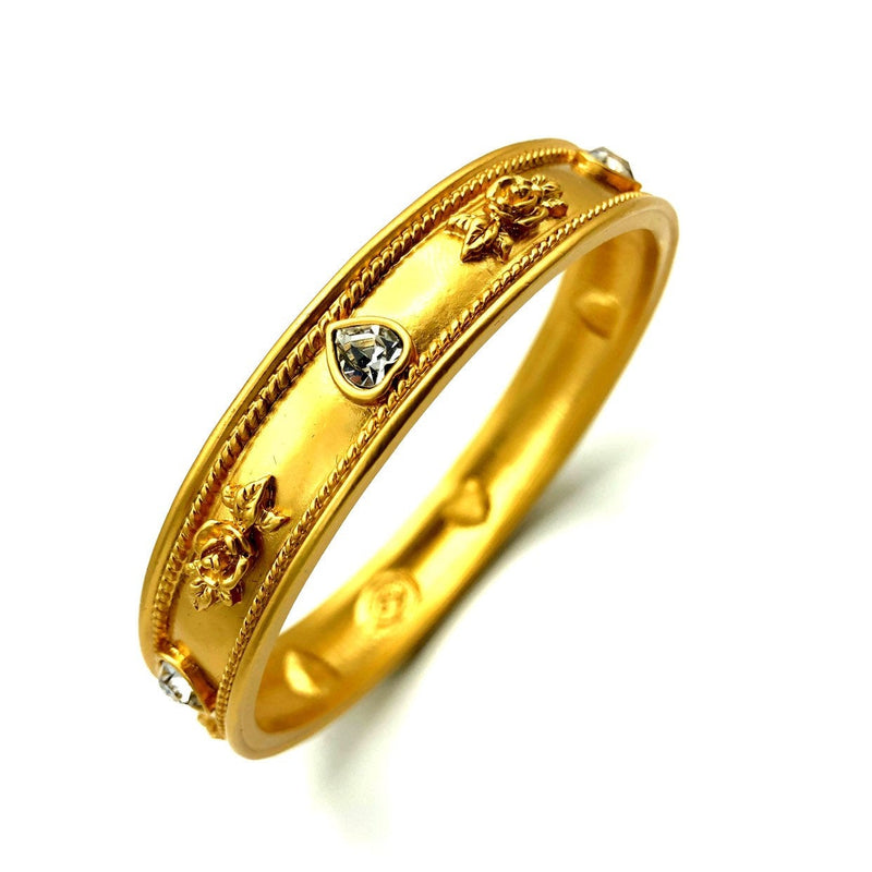 Gold Elizabeth Taylor Heart Love Blooms Gold Bangle Bracelet-Sustainable Fashion with Vintage Style-Trending Designer Fashion-24 Wishes