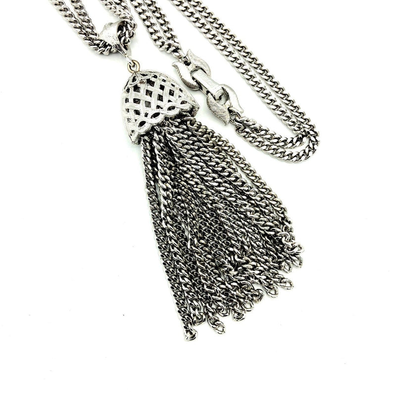 update alt-text with template Vintage Monet Double Silver Curb Chain With Tassel Pendant-Necklaces & Pendants-Monet-[trending designer jewelry]-[monet jewelry]-[Sustainable Fashion]