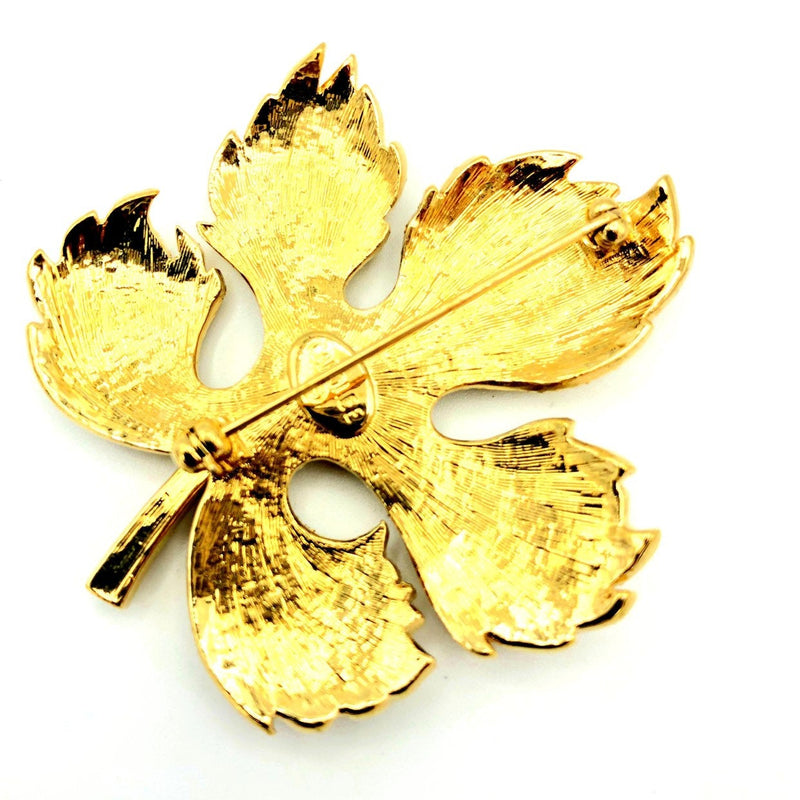 Carolee Fall Brown Golden Rhinestone Vintage Brooch-Sustainable Fashion with Vintage Style-Trending Designer Fashion-24 Wishes