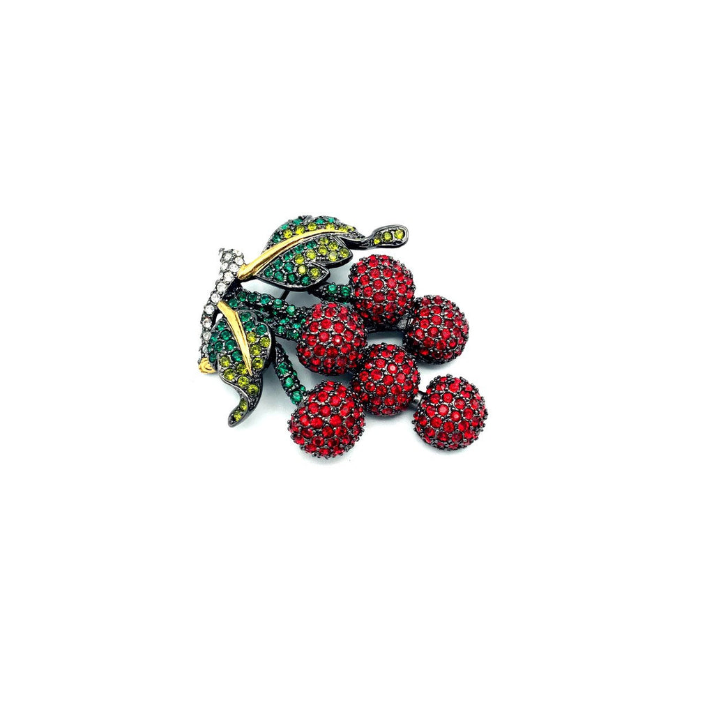 update alt-text with template Joan Rivers Red Rhinestone Bunch of Cherries Vintage Brooch-Brooches & Pins-Joan Rivers-[trending designer jewelry]-[joan rivers jewelry]-[Sustainable Fashion]