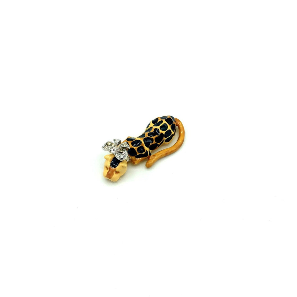 Kenneth Jay Lane Black & Brown Spotted Enamel Leopard Brooch-Sustainable Fashion with Vintage Style-Trending Designer Fashion-24 Wishes
