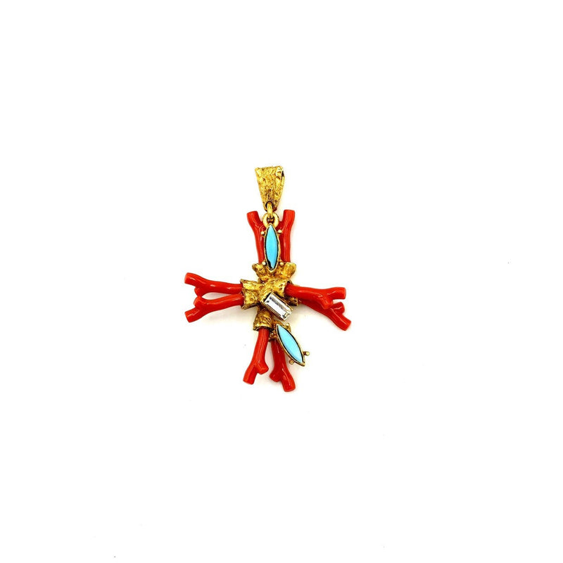Christian Lacroix Orange Coral & Rhinestone Vintage Cross Pendant-Necklaces & Pendants-24 Wishes
