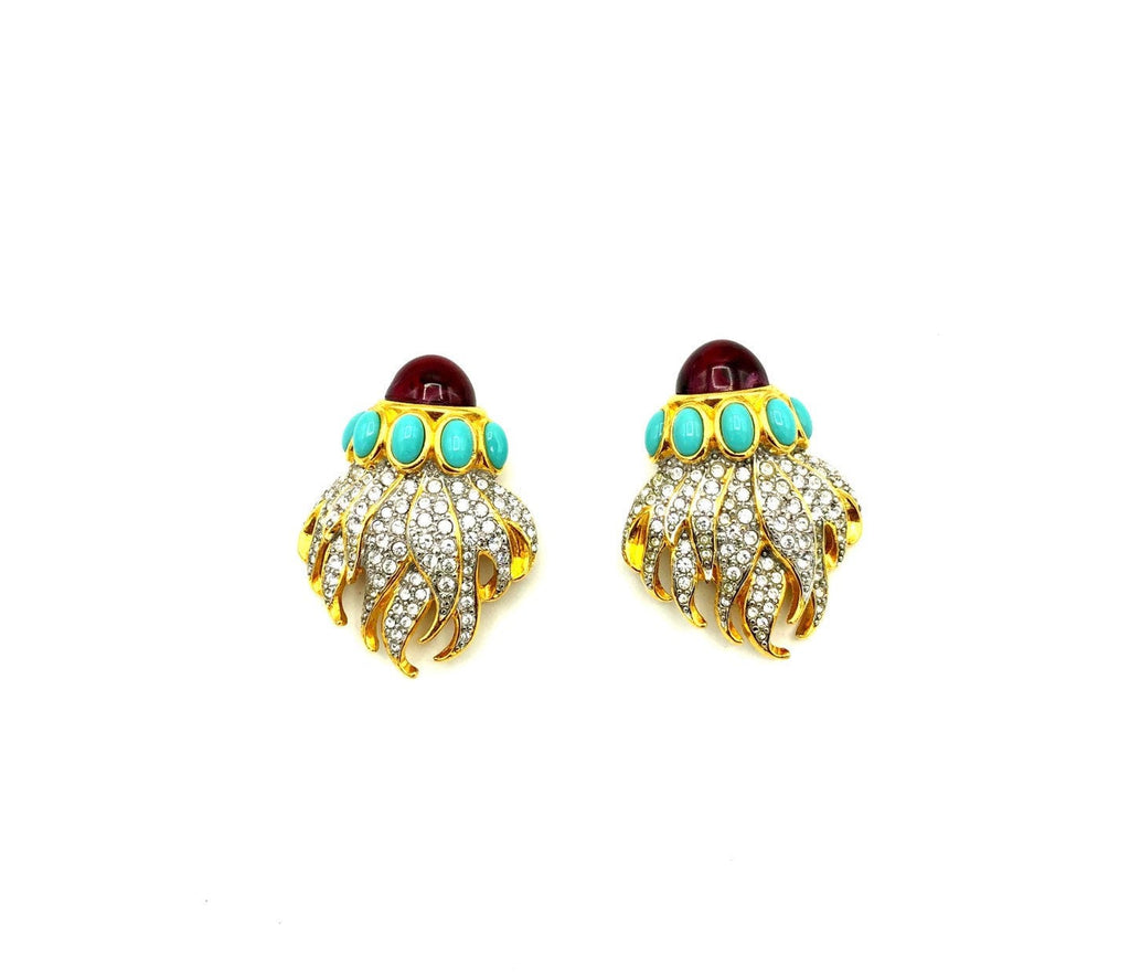 Elizabeth Taylor Eternal Flame Gold Vintage Statement Earrings