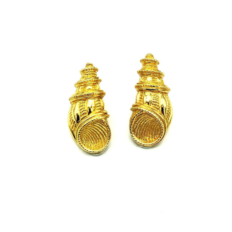 Christian Dior Gold Shell Vintage Earrings