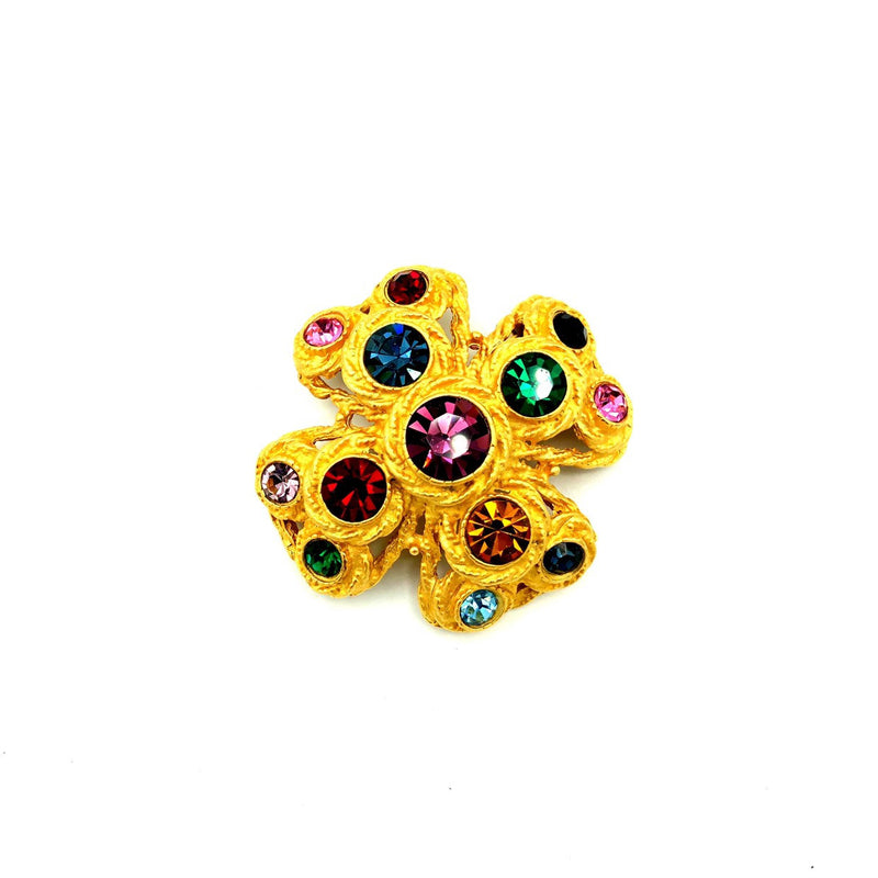 Gold Maltese Multi-Color Rhinestone Vintage Brooch-Sustainable Fashion with Vintage Style-Trending Designer Fashion-24 Wishes