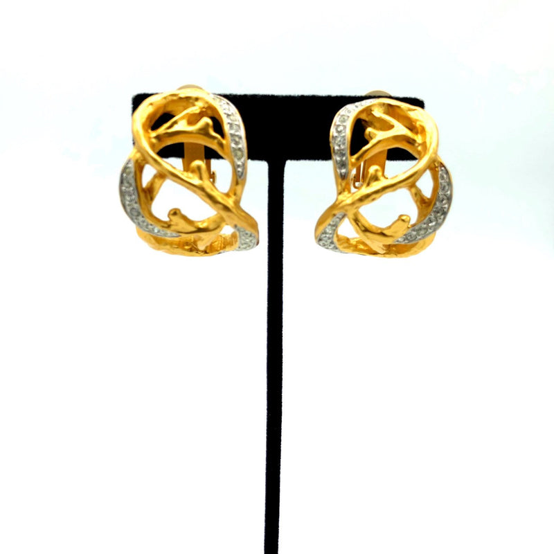 Elizabeth Taylor Treasured Vines Gold Vintage Statement Earrings-Sustainable Fashion with Vintage Style-Trending Designer Fashion-24 Wishes