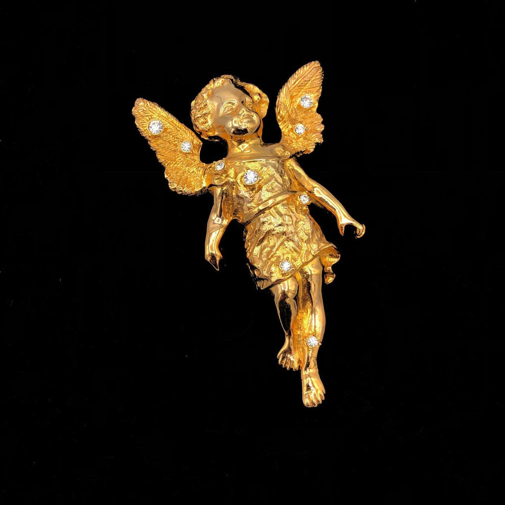 RJ Graziano Gold Angel Cherub Vintage Brooch or Pendant