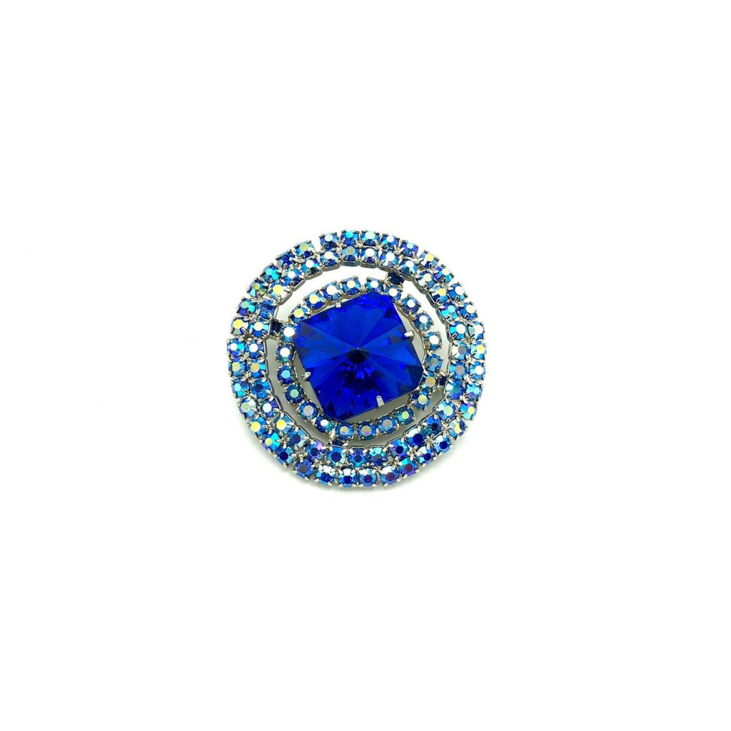 Large Layered Blue Rhinestone Vintage Circle Brooch