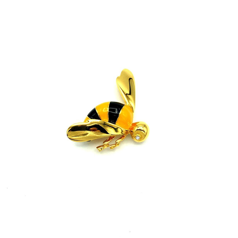 St. John Petite Black & Yellow Enamel Bee Brooch Pin-Sustainable Fashion with Vintage Style-Trending Designer Fashion-24 Wishes