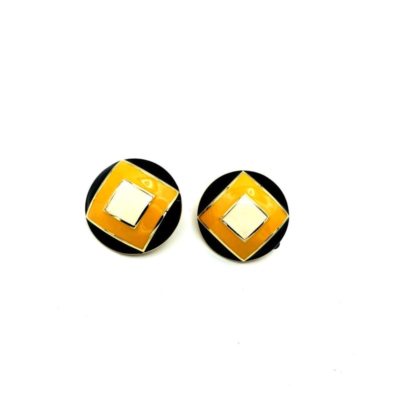 St. John Round Geometric Yellow & Black Enamel Earrings-Sustainable Fashion with Vintage Style-Trending Designer Fashion-24 Wishes