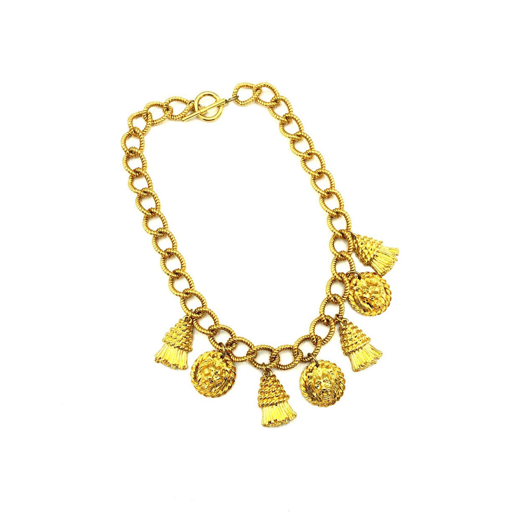 Classic Gold Chunky Chain Lion & Tassel Charm Vintage Necklace